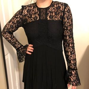 Zara Lace Contrast Dress w/ See Through Lace back